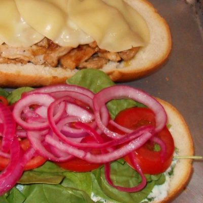 Torta with Pickled Red Onions