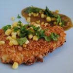 Corn Flake Crusted Fish Fillets with Roasted Tomatillo Sauce with Fried Corn