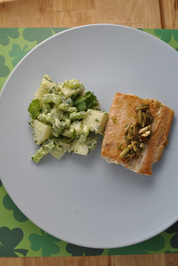 stpaddy 048 685x1024 Salmon with Lime Butter and Pepitas uncategorized mexican dinners