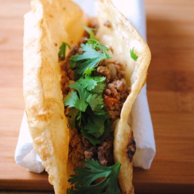 Puffy Tacos with Picadillo or Rajas Poblano con Crema