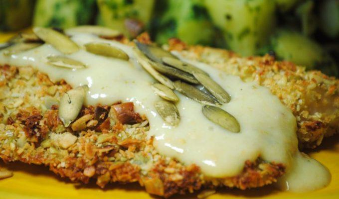 Pepita Crusted Tilapia with Tomatillo Cream Sauce and Cilantro Potatoes