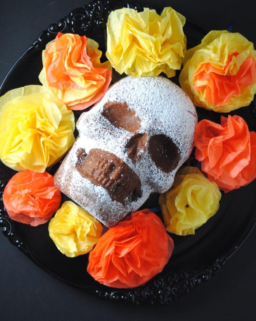 dia de los muertos 001 817x1024 Dia de Los Muertos   Chocolate Skull Cake mexican day of the dead baked goods