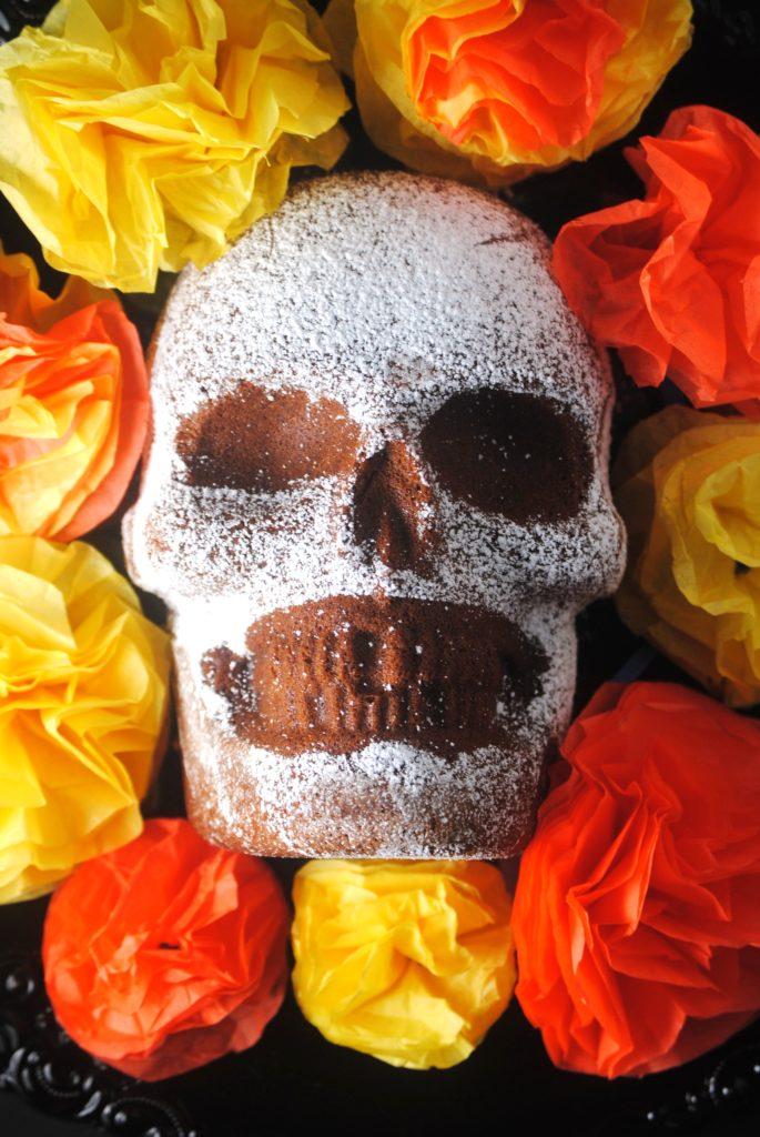 dia de los muertos 023 685x1024 Dia de Los Muertos   Chocolate Skull Cake mexican day of the dead baked goods