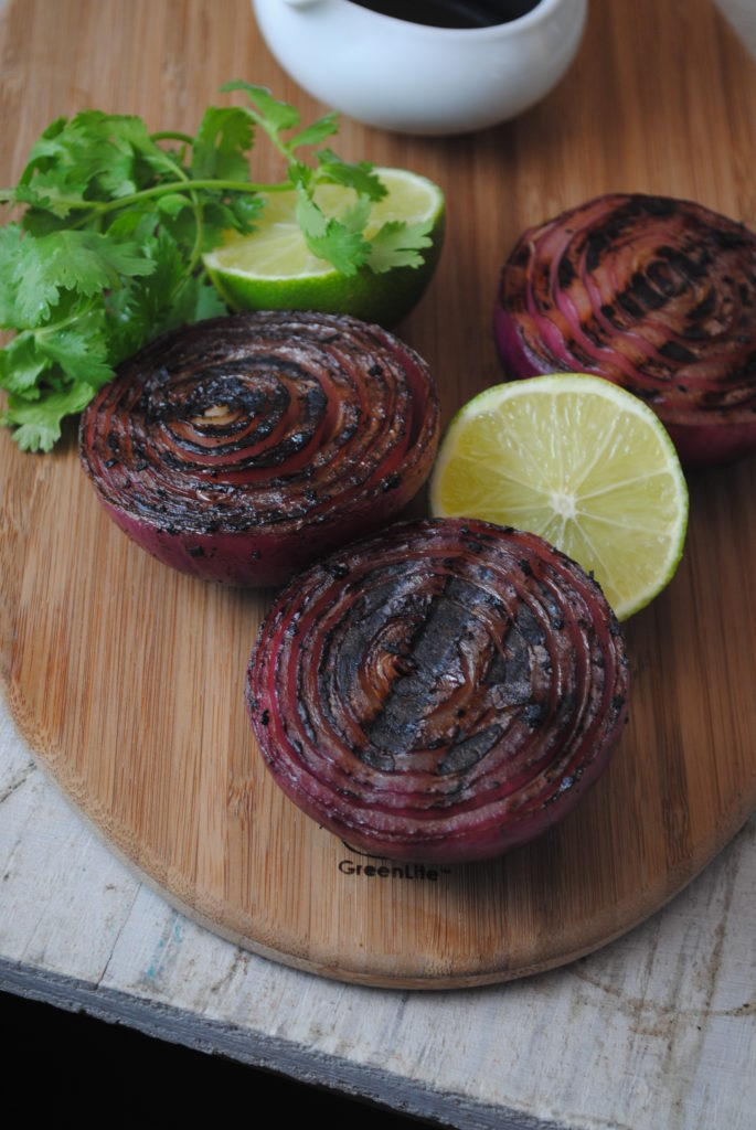 grilled onions 002 685x1024 Coca Cola Balsamic Marinated Bermuda Onion vegetarian recipes side dishes grilling dinners celebrity chefs