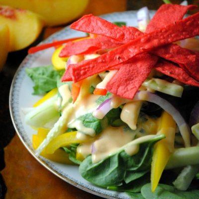 Jícama-Tortilla Salad With Peach Dressing