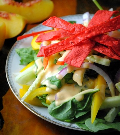 jicama tortilla salad with peach dressing 034~1