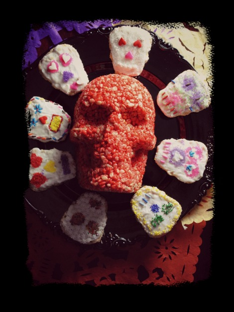day of the dead rice crispy skulls dia de los muertos 0611 Dia de Los Muertos  sweet treats sponsored spicy recipes mexican giveaways day of the dead chuls gang baked goods