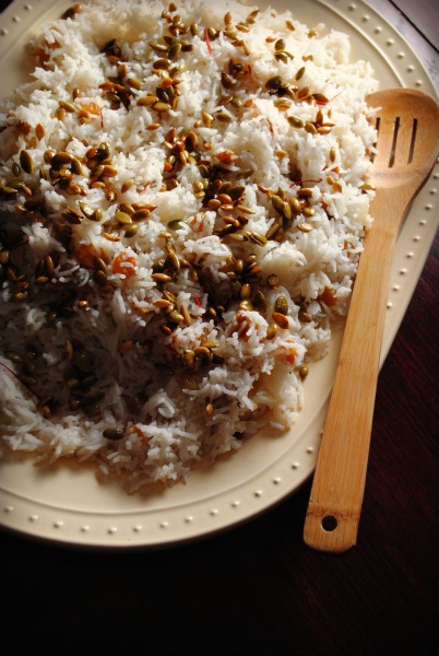 Saffron Rice With Golden Raisins And Pine Nuts Recipe — Dishmaps