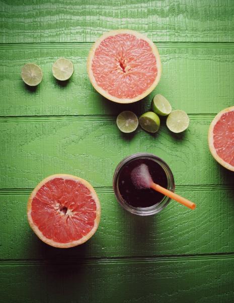 agua fresca de jamaica, grapefruit