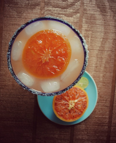 grapefruit margarita, candied grapefruit
