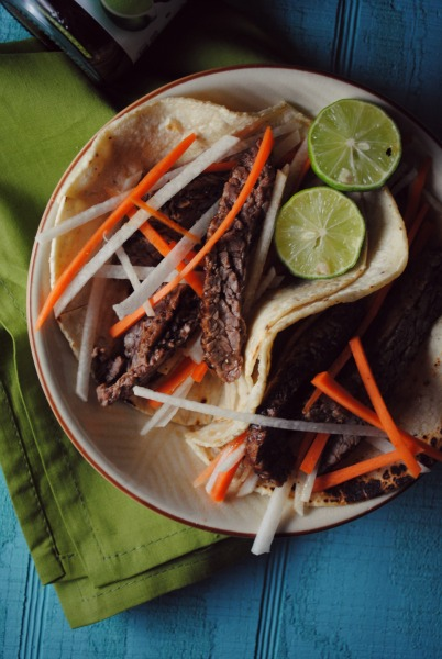fajita tacos, ponzu
