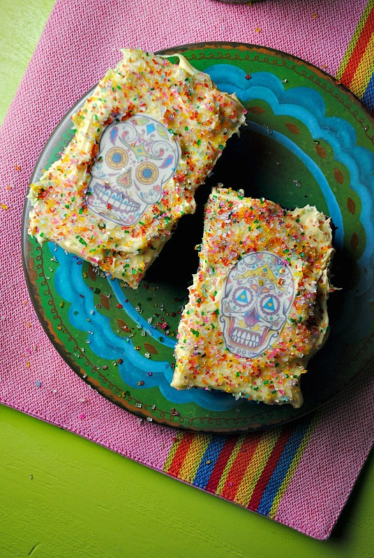Dia de Los Muertos Chocolate Brownies with Cream Cheese Frosting