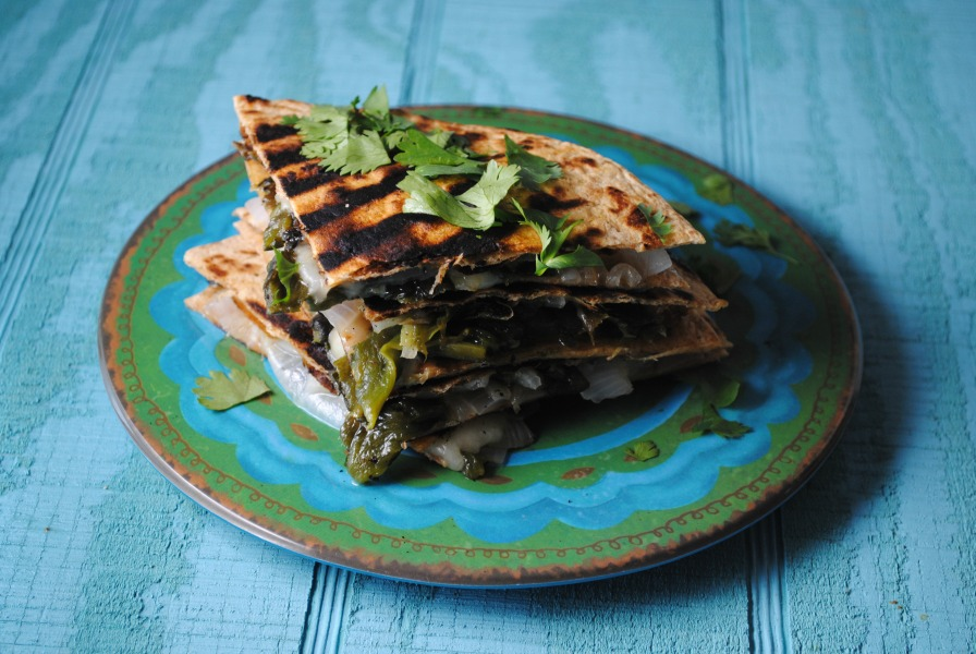 quesadilla roasted poblano VianneyRodriguez Roasted Poblano Quesadillas vegetarian recipes spicy recipes sandwiches mexican appetizers light dinners appetizers