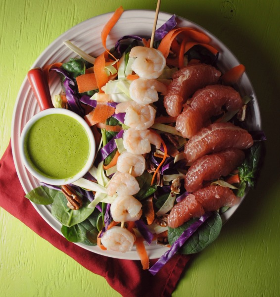 roasted shrimp grapefruit salad VianneyRodriguez sweetlifebake Shrimp Salad with Cumin Cilantro Dressing    salads