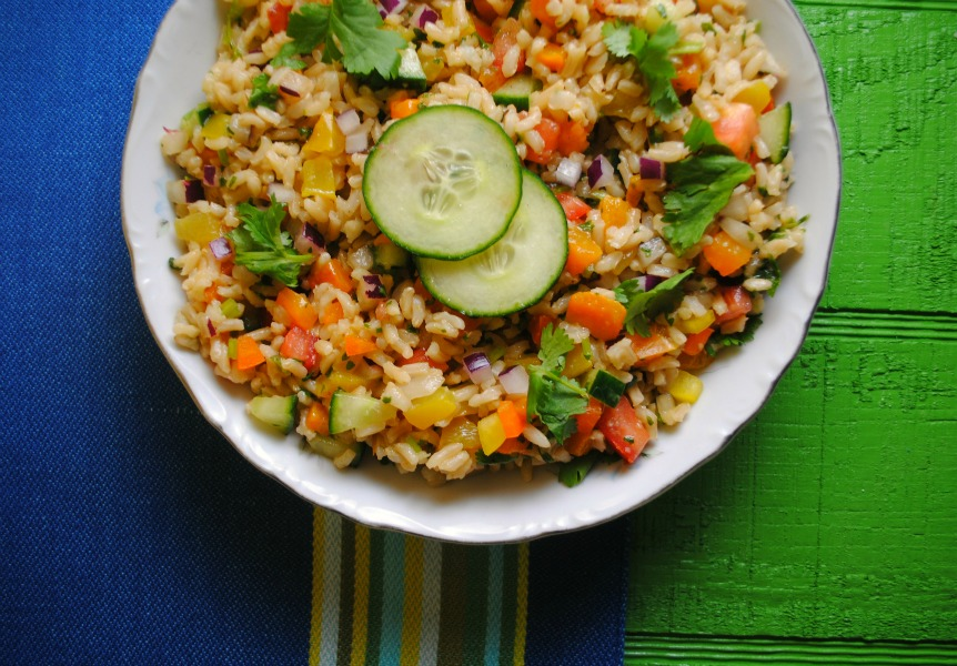 salad brown rice recipe VianneyRodriguez sweetlifebake Brown Rice Salad with Cilantro Lime Dressing side dishes salads