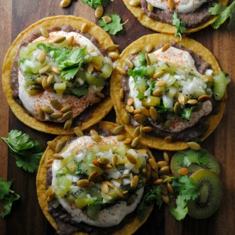 Black Bean Tostadas with Green Chile Kiwi Salsa