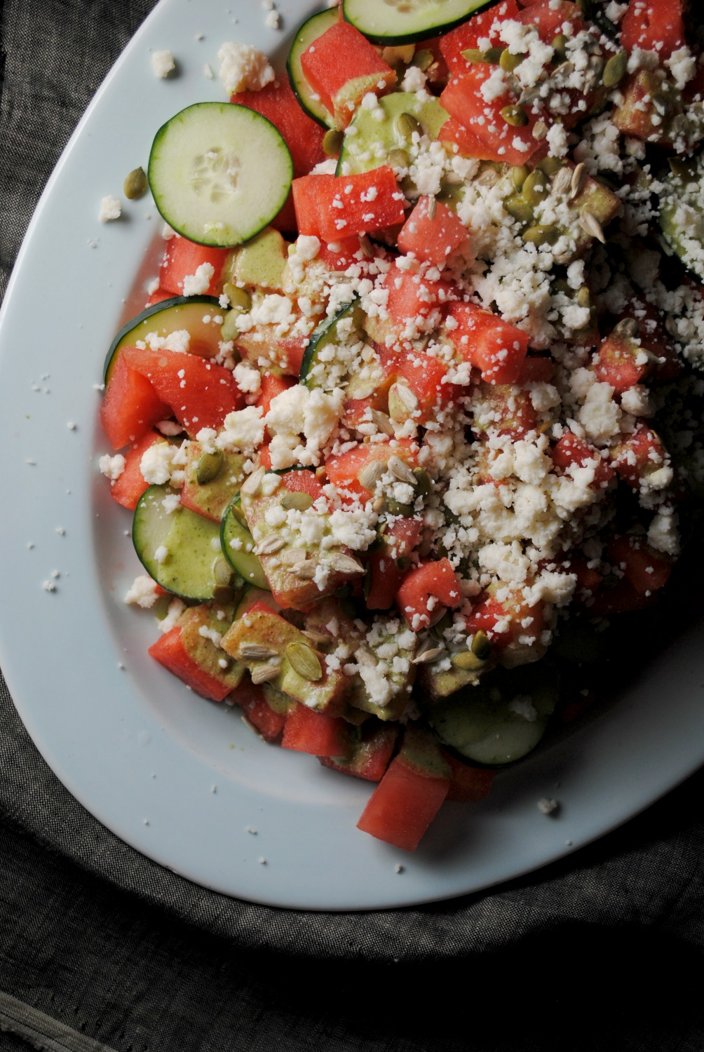 Watermelon Cucumber Salad With Pepita Dressing