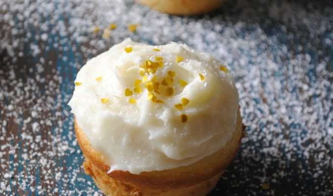 Rompope Tres Leches Cupcakes with Rompope Cream Cheese Frosting
