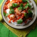 Spicy Shrimp over Pureed Hominy