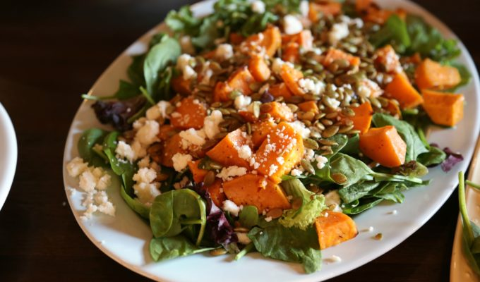 Roasted Sweet Potato Salad with Hibiscus-Lime Vinaigrette