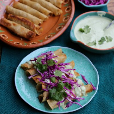 Chicken Taquitos with Creamy Poblano Sauce
