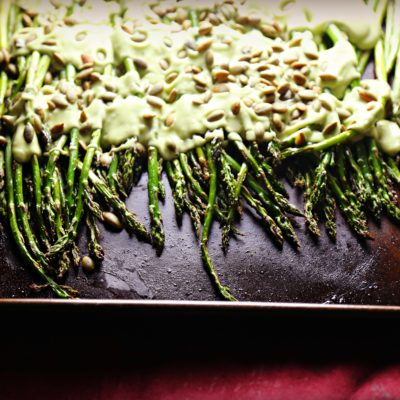 Roasted Asparagus with Avocado Sauce