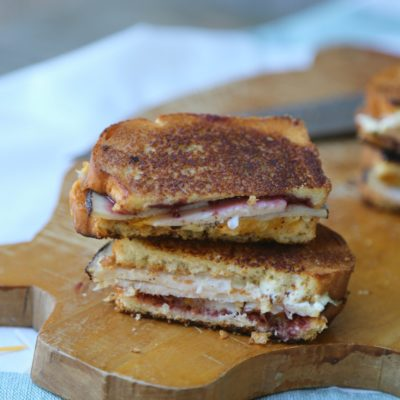 Turkey Blackberry Grilled Cheese Sandwich with Salsa Verde Spread
