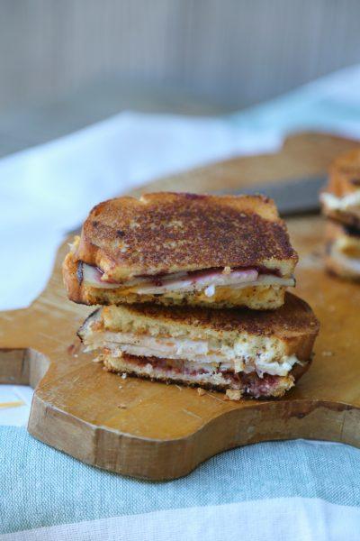Turkey Blackberry Grilled Cheese Sandwich with Salsa Verde Spread
