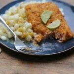 Honey Chipotle Salmon with Creamy Poblano Hominy Salad