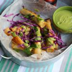 Baked Chicken Flautas with Roasted Poblano-Avocado Sauce