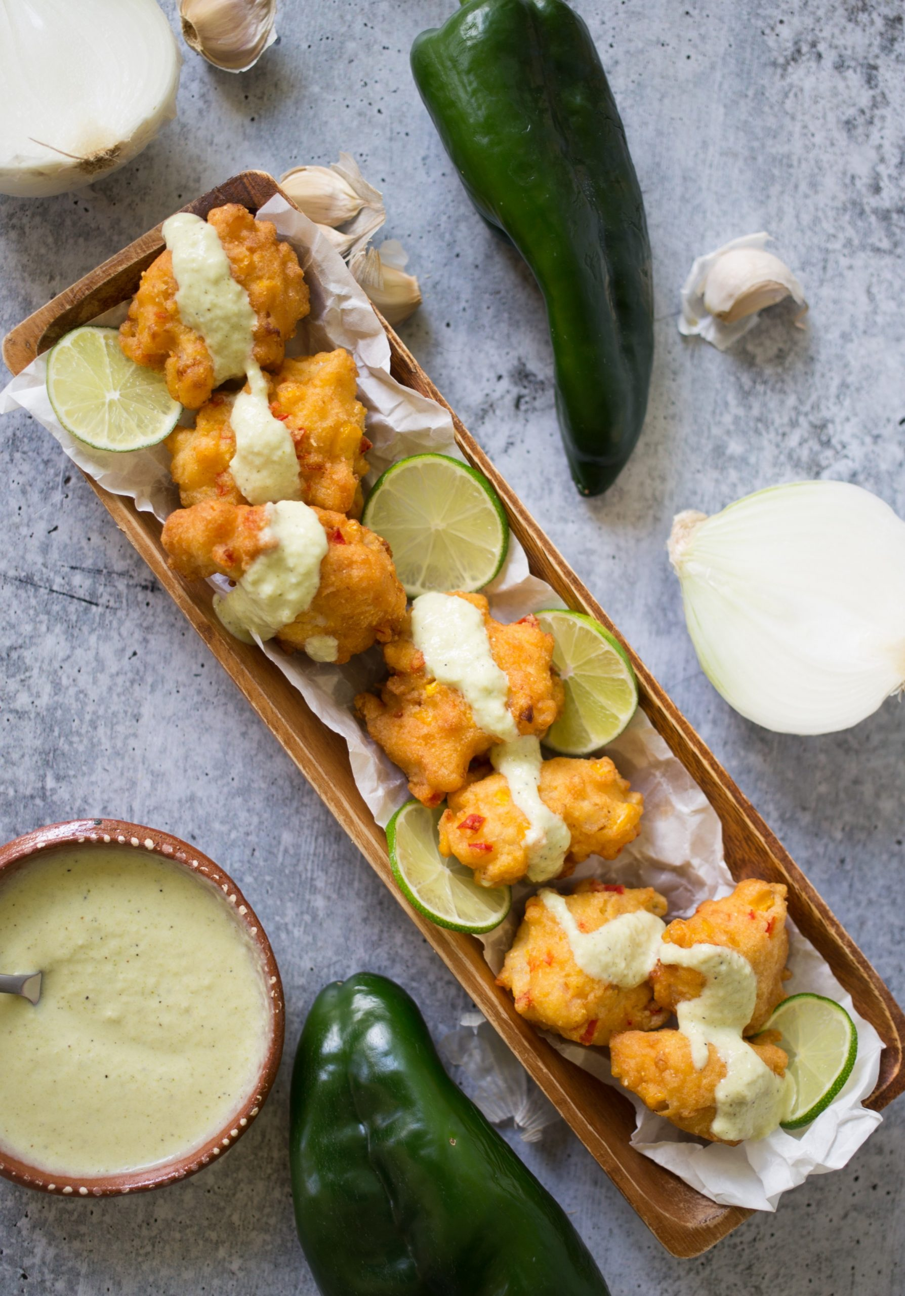 Shrimp Fritters with Poblano Cream Sauce