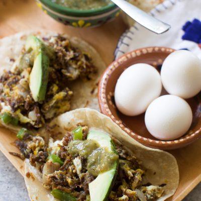 Machacado Breakfast Tacos