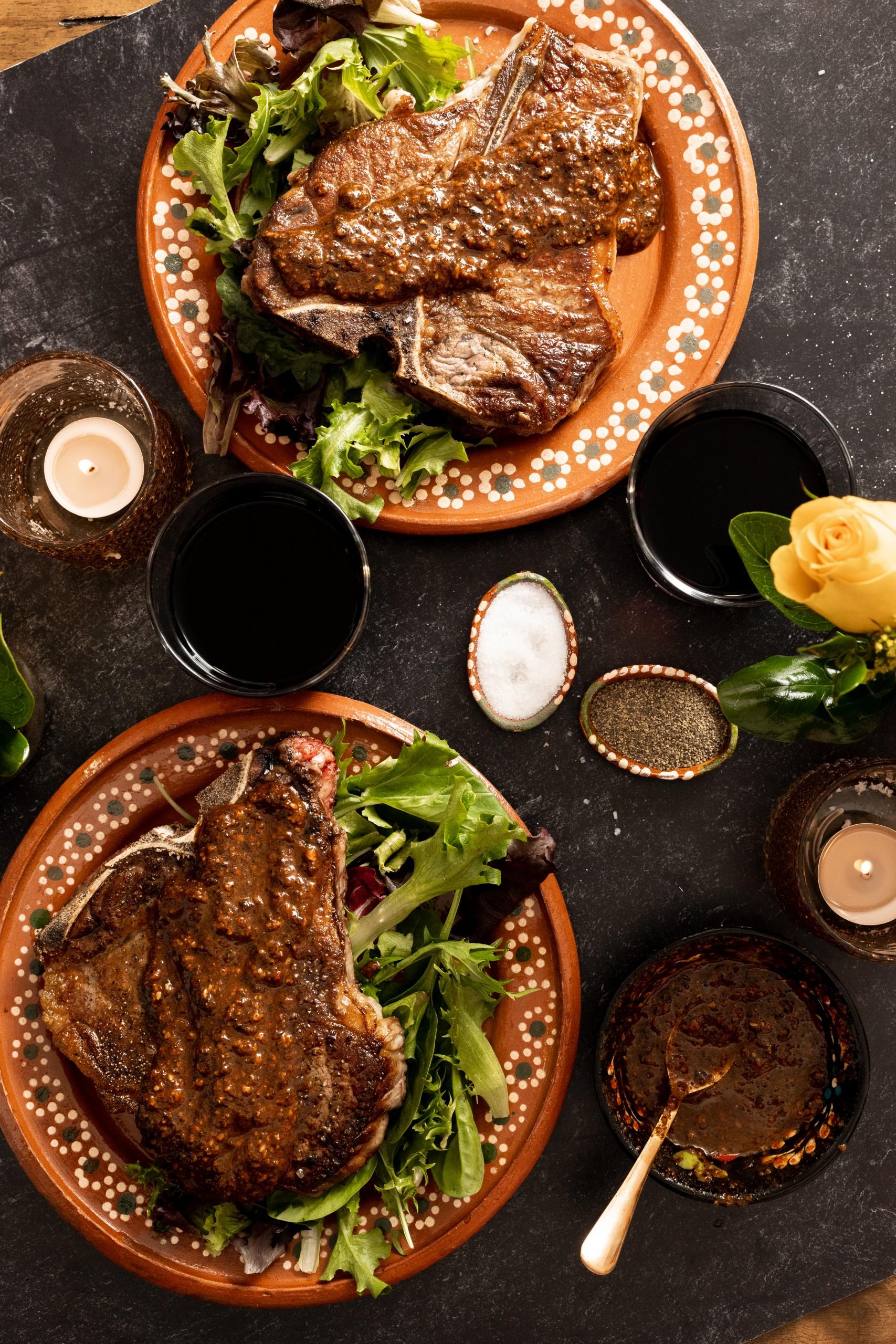 steaks served with salsa macha