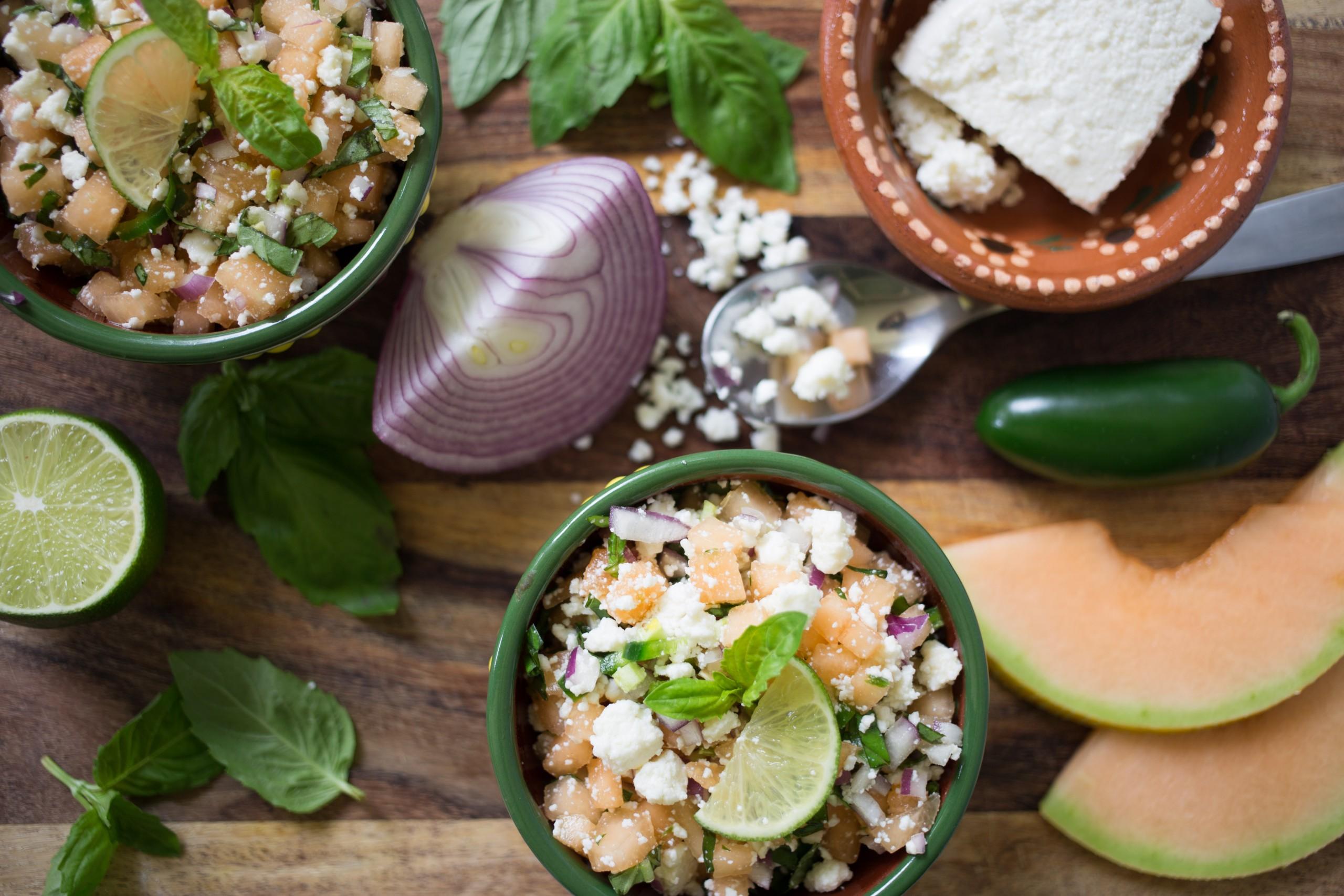 fresh salsa made with cantaloupe