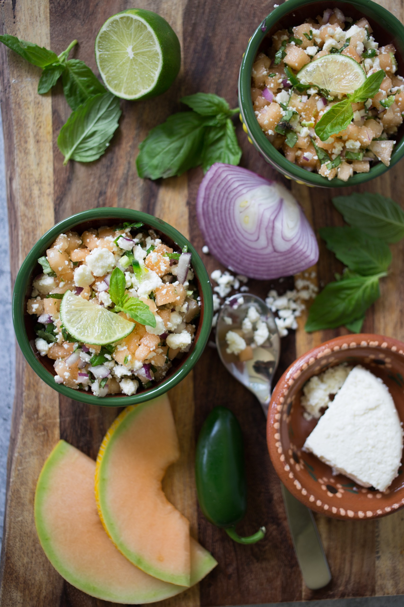 Cantaloupe Basil Queso Fresco Salsa appetizer