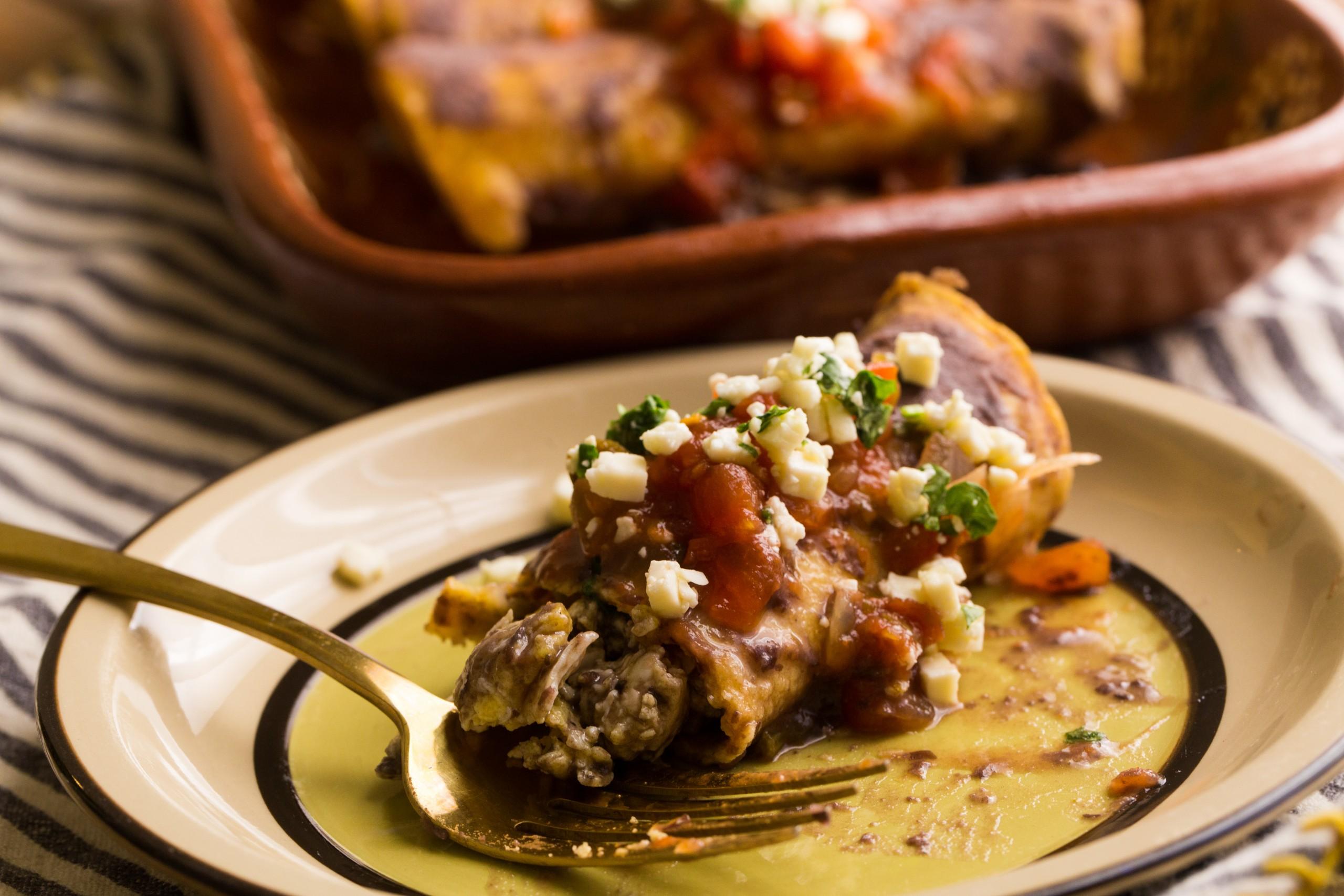 breakfast enchilada served on plate