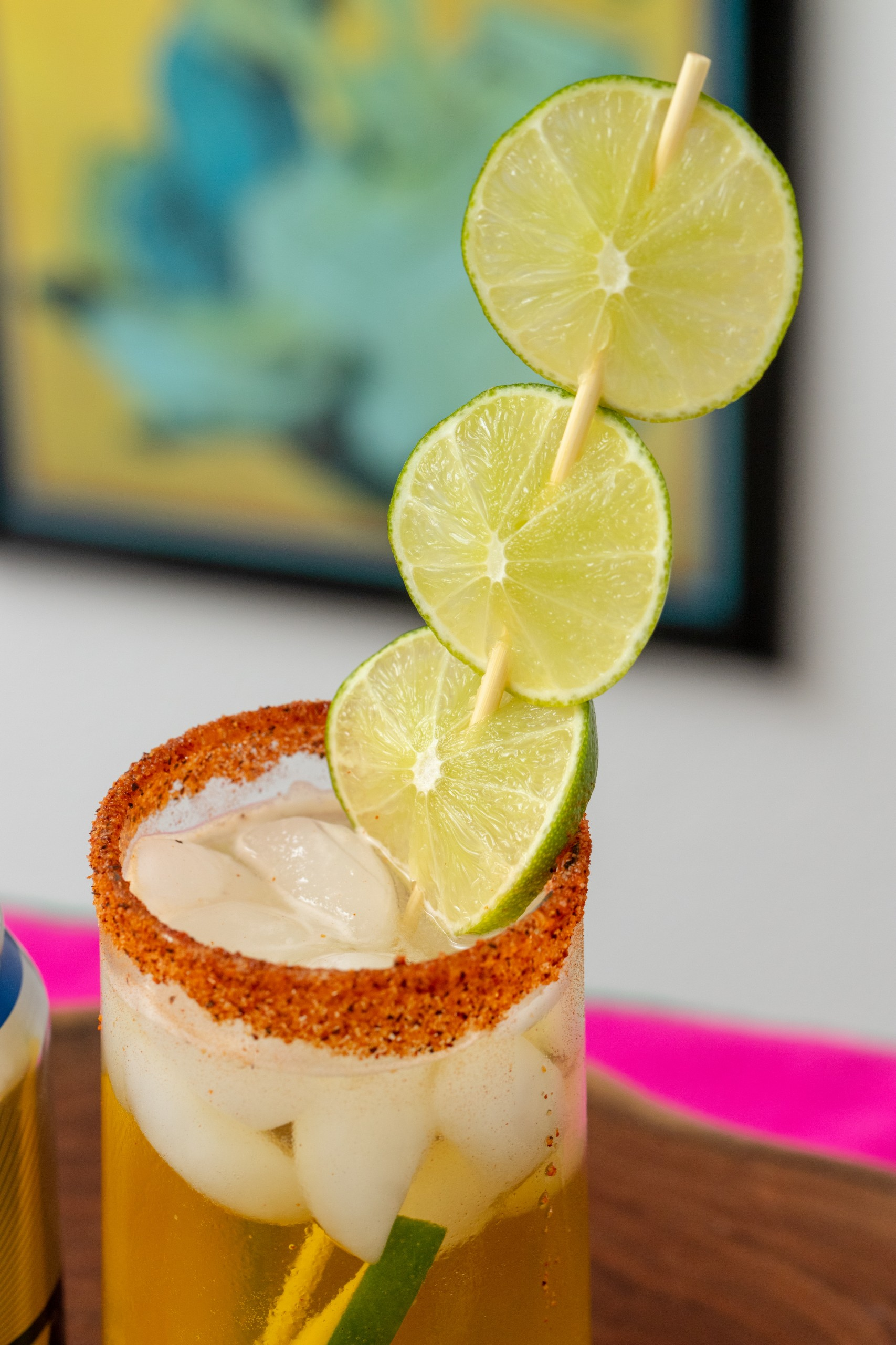 fresh lime juice in a michelada