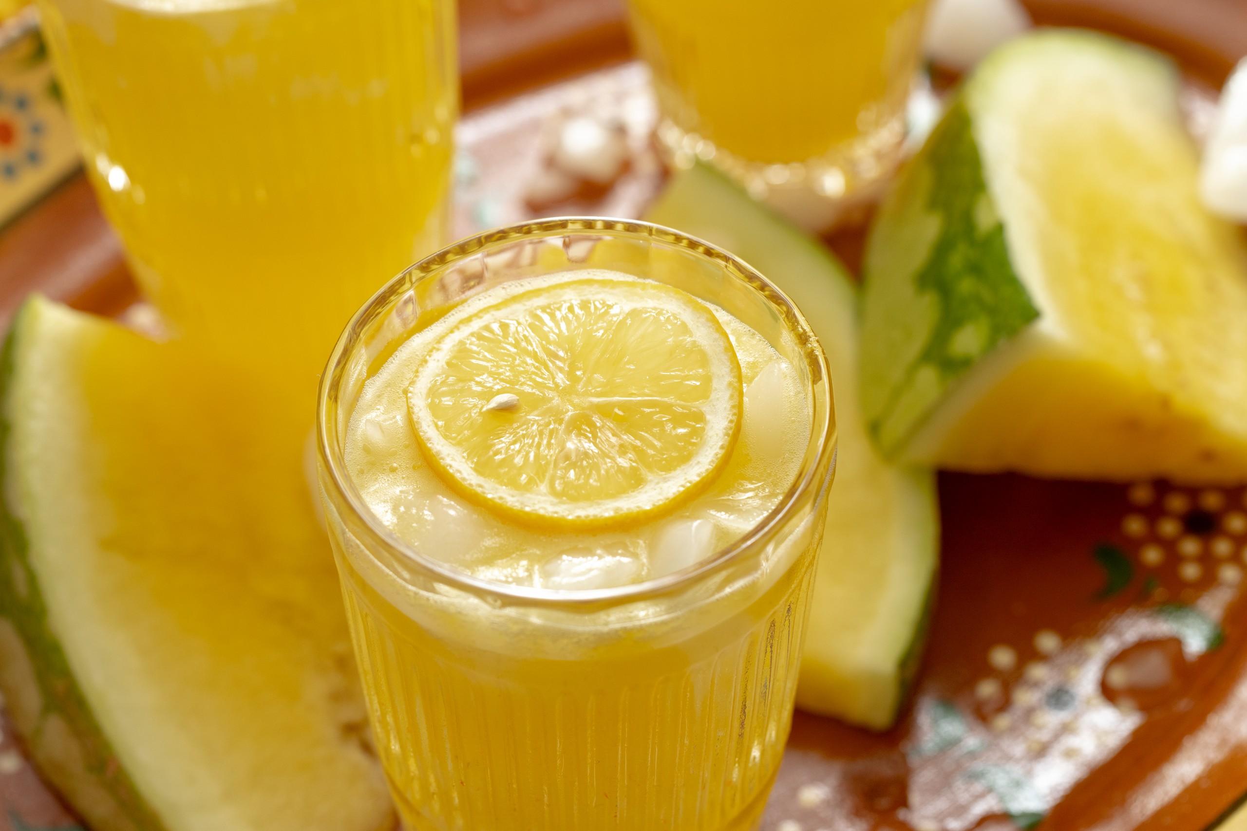 yellow watermelon lemonade made in the blender