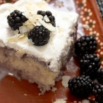 Coconut Blackberry Tres Leches Cake made with a box cake mix