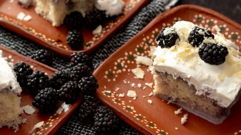 coconut blackberry tres leches cake made with coconut milk