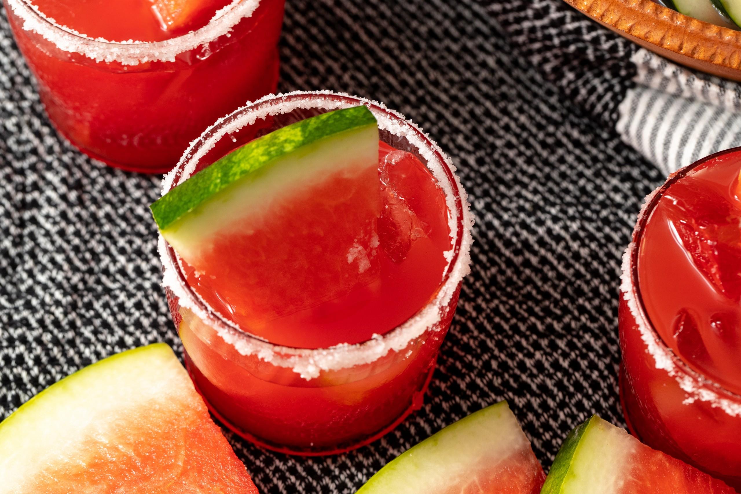 watermelon margarita made from fresh watermelon juice