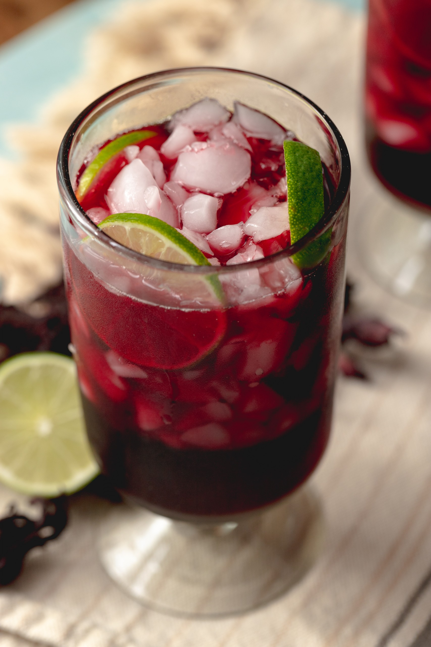limeade made with dried hibiscus flowers